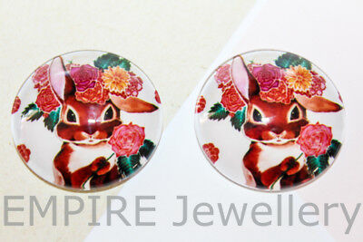 1 x Bunny with Flowers 25x25mm Glass Dome Cabochon Cameo Easter Rabbit