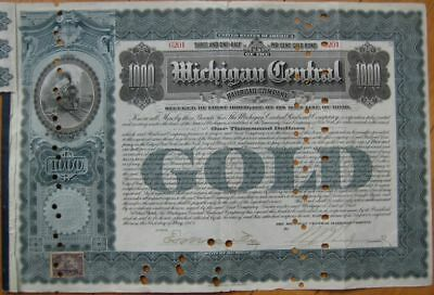 1902 $1000 Gold Bond: 'Michigan Central Railroad RR Co'