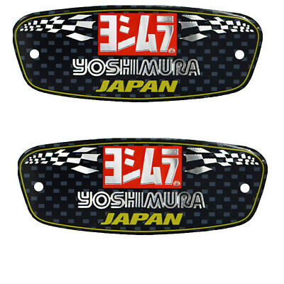 2PCS Motorcycle Yoshimura Exhaust Pipes Sticker Heat-resistant Decal Aluminium