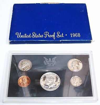 1968 S United States U.S Mint Proof 5 COIN Assorted Set Original Box