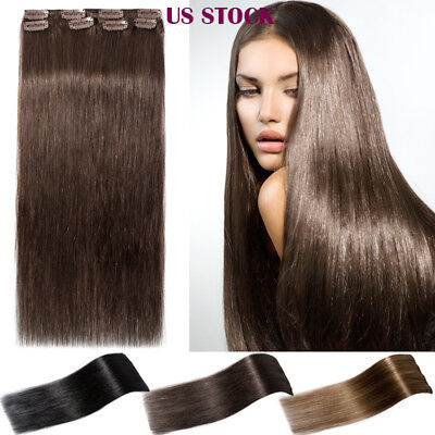 Thick to End Real Long Clip in 100% Remy Human Hair Extensions Double Drawn US88