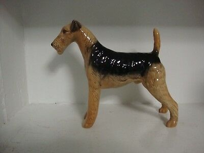 """Beswick Cast Iron Monarch Airdale Terrier Dog Figurine -- 5 1/2"""" by 5 3/4"""""""