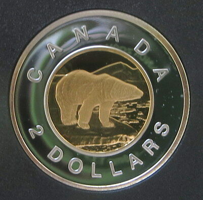 1997 Canada Proof Silver 2 Dollar - Toonie w/24kt Gold core