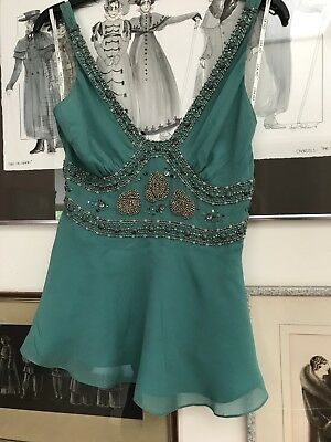 Gorgeous Lisa ho One-Off Vintage Hand Beaded Silk Chiffon cami Top 6-8