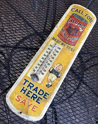 Rare Calumet Kid & Indian Baking Powder Trade Here Antique Wood Thermometer Sign