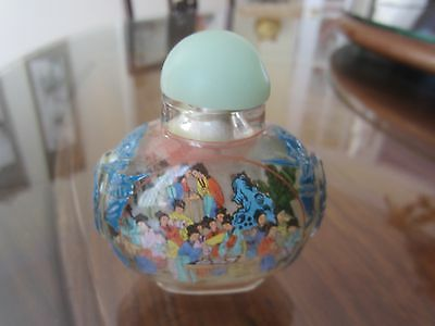 Chinese Snuff Bottle Hand Painted Inside Painting 30 Maidens Art Decor 2 inches