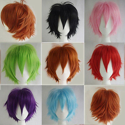 Women Men New Fashion Cosplay Short Full Wig Heat Resistant Anime Party Wi Uxym