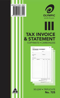 1 x Olympic #725 Invoice & Statement Book Triplicate 200x125mm 50Lf