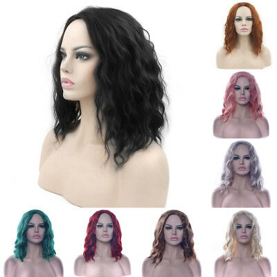 Women Curly Wavy Black Wig Synthetic Hair Short Wigs Cosplay Party Hair Pieces