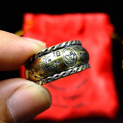 Rare Old Ring Lp  Ruay Wat Tako Thai Buddha Amulet Luck Rich Charm 9