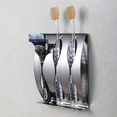 Stainless Steel Toothbrush Holder Razor Stand Self Adhesive Wall Mounted Brushed