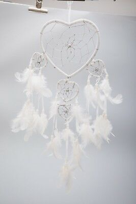 Handmade White Dream Catcher Feathers Heart Ornament Home Wall Car Hanging Decor