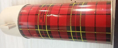 VIntage-Aladdin-King-Seeley-Glass-Lined-Thermos-Plaid-Red-amp-Black