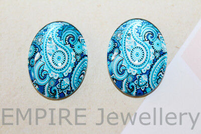 2 x Blue Paisley Pattern 25x18mm Oval Glass Dome Cabochon Cameo Floral