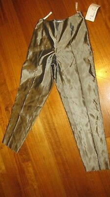 Anthea Crawfoord Vintage Gold/Khaki Satin Pants Size-8 NEW