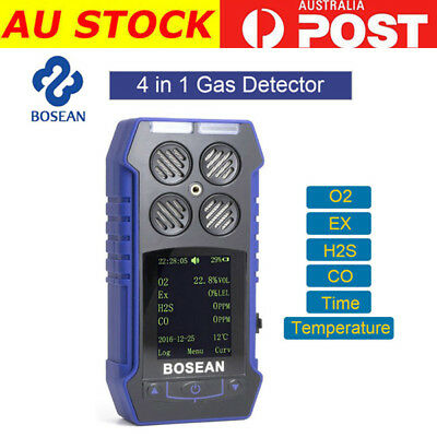 4 in 1 Combustible Gas EX CO O2 H2S Oxygen Detector Analyzer Alert Monitoring AU