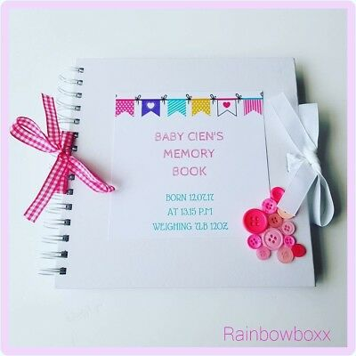 ♡ Personalised 38 page Baby girl memory book.Add message of your choice inside ♡
