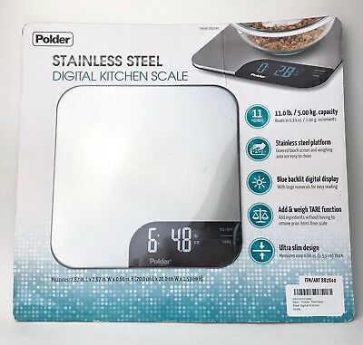 Stainless Steel Digital Kitchen Scale By Polder Diet Food Ounce Weight Scale