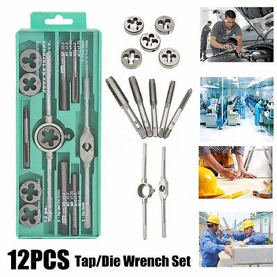 12pcs Metric Tap Wrench & Die Pro Set M3-M12 Nut Bolt Alloy Metal Hand Tools