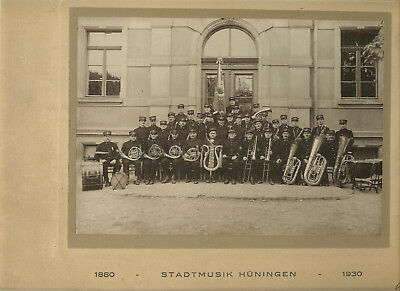 PHOTO ORIGINALE 36 x 30 MUSIQUE MUNICIPALE HUNINGUE 1880 - 1930