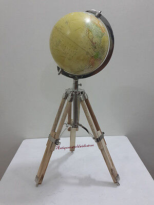 Nautical World Globe In Silver Finish On Wooden Tripod Stand