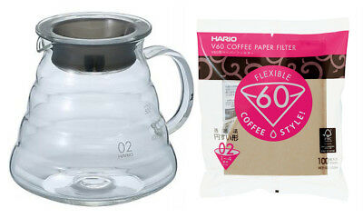 The Hario XGS-60TB Glass Kettle (V60 Series) with Lid and 100 Paper Filters