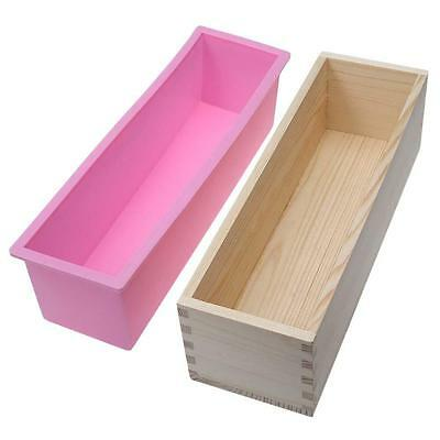 Rectangle Toast Loaf Bread Soap Cake Wooden Box Silicone Mold Mould DIY 1200g DA