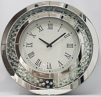 Sparkly Floating Crystal Large Round Silver Mirrored Wall Clock 50 cm