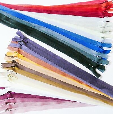 """28 Variations Colors 6"""" to 16"""" / 15cm to 40cm Concealed Zip Auto Lock,Closed End"""