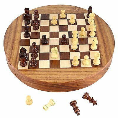 Compact Box Magnetic Round Wooden Chess Board & Pieces Set. Gift For Kids Adults