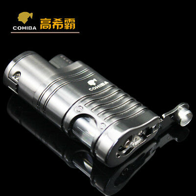 COHIBA Chrome Metal 4 Torch Jet Flame Grey Cigar Cigarette Lighter With Punch