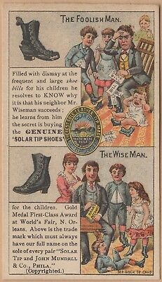 Victorian Trade Card-Solar Tip Shoes-Stone, Goff & Co-Binghamton NY-Foolish/Wise
