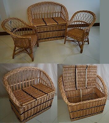WICKER SOFA CHEST STORAGE Trunk Solution Willow Box Lid Toy Linen Large Shoe