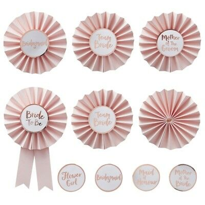 Hen Party Rosette Badges Kit Rose Gold & Pink ClassyTeam Bride Accessories