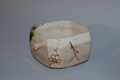 Square serving bowl, stoneware, Oribe ware, Japan Meiji era