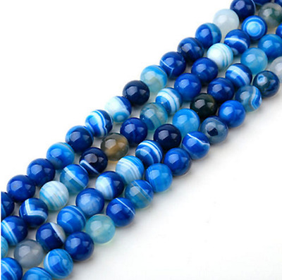 "Blue Carnelian Natural Agate Gemstone Round Beads 15"" 4mm 6mm 8mm 10mm 12mm"
