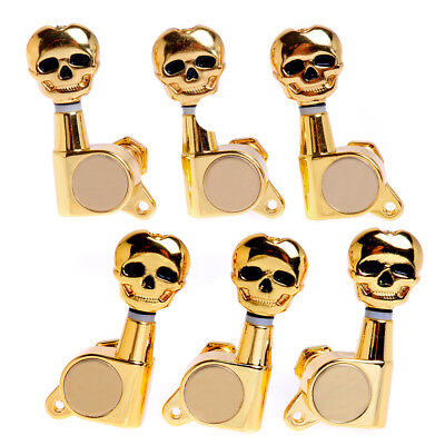 Acoustic Electric Guitar Sealed Gear Skull Tuning Pegs Machine Heads 3L3R Gold