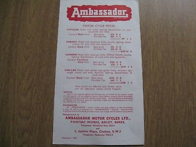 Ambassador  Price list Brochure 1952