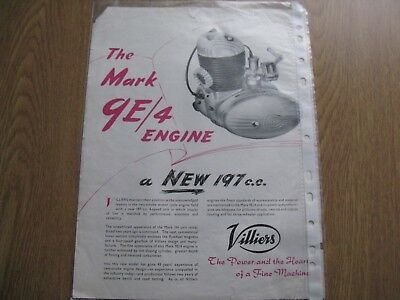 Villiers two stroke engine brochure 1956
