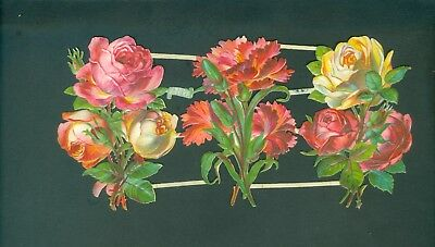 Victorian Die Cut Scrap Very old FLOWERS ROSES  ORIGINAL #2137