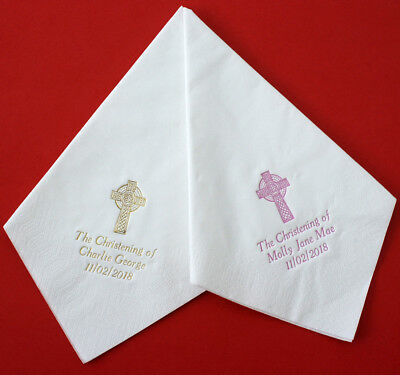 100 Christening/Baptism 40cm 3ply Napkins Personalised  CELTIC CROSS & text