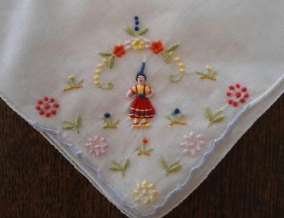 Vintage Madeira Linen Hanky Hand Embroidered Lady Red Dress Flowers