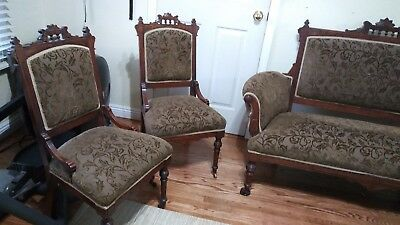 Victorian Eastlake Walnut Antique Carved 1880 Loveseat or Settee & 2 chairs