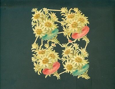 Victorian Die Cut Scrap Very old FLOWERS  ORIGINAL #600 EB Com.