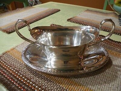 Gravy Boat Attached Underplate Silverplate Camille International Silver Co. 6013