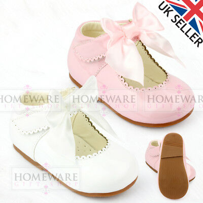 5dec4ae6409 Baby Girls Spanish Style Patent Bow Shoes Mary Jane Pink White Ivory Uk3 To  Uk10