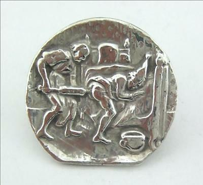 Antique French Satirical Solid Silver Button C1700 Louis Xiv