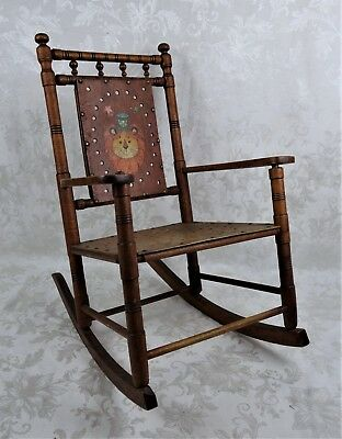Antique 19th Century Child's Rocking Chair With Lion and Tiger Folk Art Painting