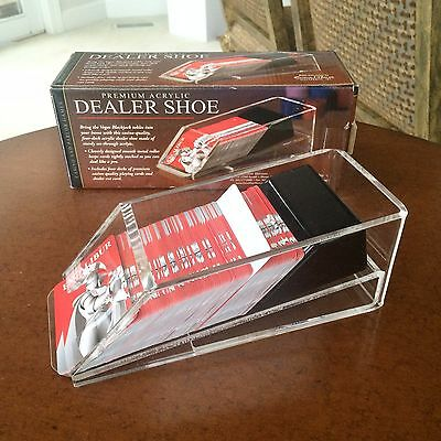 Excalibur Premium Acrylic Dealer Shoe with Four Decks of Cards Cutter with Box