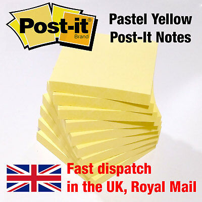 Pastel Yellow Genuine Post It Notes, Remove Sticky Paper Note Pad 76mm x 76mm